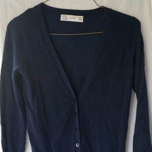 Zara sweater navy v neck